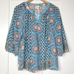 Anthropologie Fig and Flower M Sheer Blouse Blue